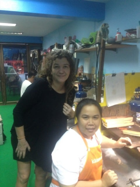 Norwegian jewelry dealer Cathrine Krogh Eckmann, visiting Joe, his empolyees and the factory in Thailand.